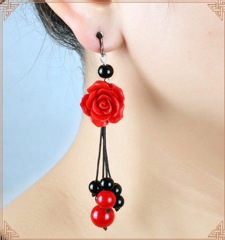 Accessories Cantik - Carved Lacquer Rose Earrings Drop - Cantik Menawan