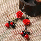 Accessories Cantik - Carved Lacquer Rose Earrings Drop