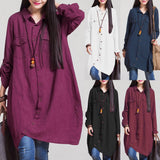 Tunic Wania Shirt Blouse Plus Size 3XL 4XL 5XL Long Top Irregular Hem Button Loose - Cantik Menawan