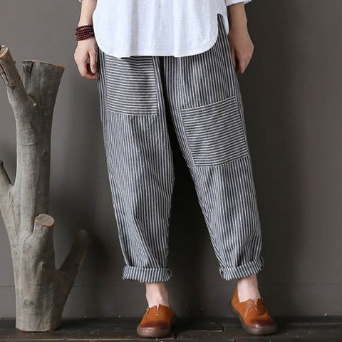 Celana Panjang Wanita Elastic Waist Striped Patch Pockets Loose Cotton Linen - Cantik Menawan