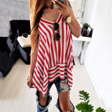 Casual Top Stripe Sling Chiffon Blouse Cantik - Irregular Hem Sleeveless V Neck - Cantik Menawan