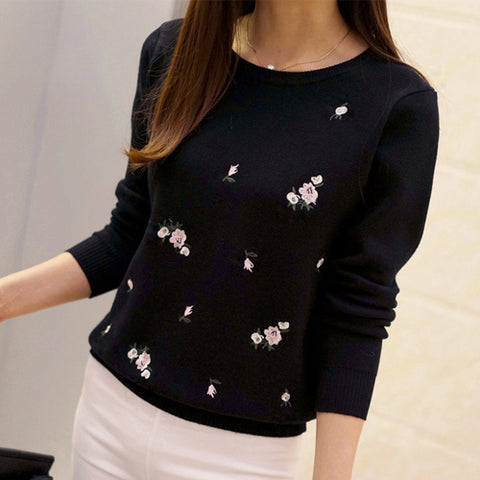Sweater Wanita Terbaru Embroidery Knitted Tricot Jersey Jumper Pull Femme