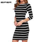 Women Round Neck Fashion Black And White Striped Long Sleeve Straight