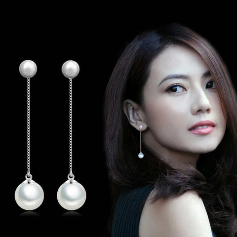 Silver Earrings Double Artificial Pearl - Cantik Menawan