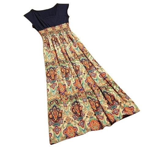 Dress Cantik Terbaru - Casual Bohemian Vintage Print Patchwork Long Summer Beach Dress - Cantik Menawan