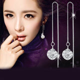 Anting Cantik Fashion Silver Plated Long Chain Drop Earrings Crystal Shambhala Ball Fancy Chain - Cantik Menawan