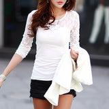 Atasan Sexy Slim Shirt Tops Lace Long Sleeve O-Neck Blouse - Cantik Menawan