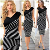 Dress Cantik - Striped V Neck Bodycon Office Work Dress