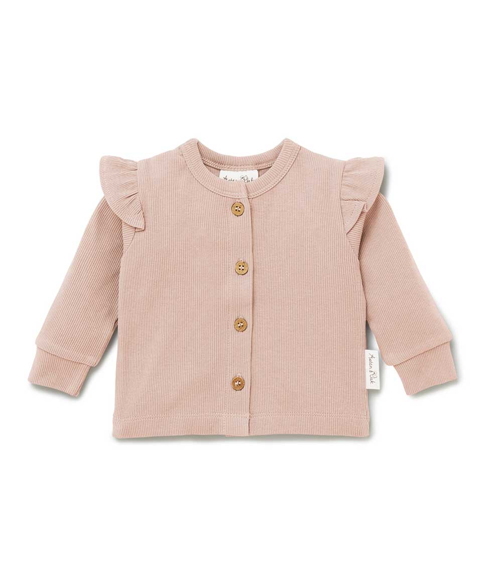 Cameo Rose Rib Flutter Cardigan Aster & Oak Baby Preggi Central Maternity Shop