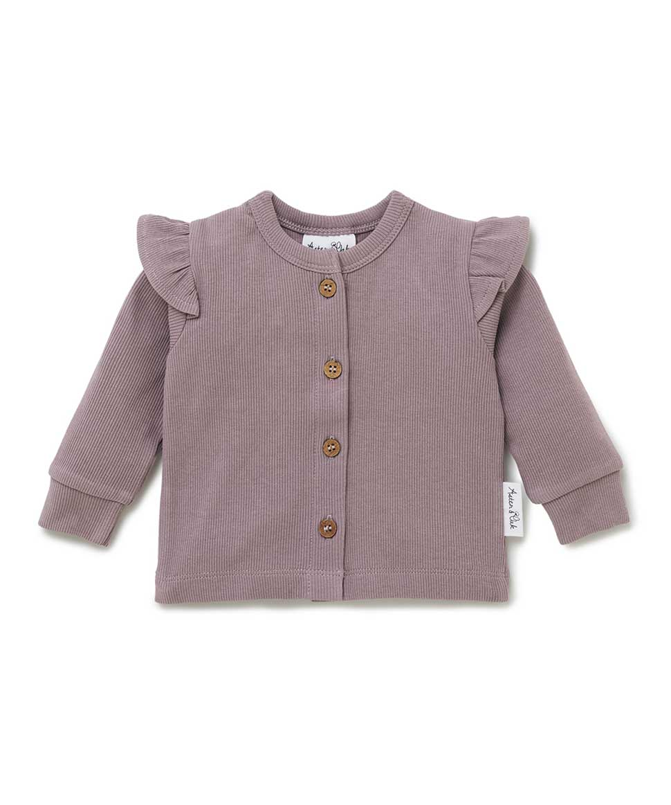 Elderberry Rib Flutter Cardigan Aster & Oak Baby Preggi Central Maternity Shop