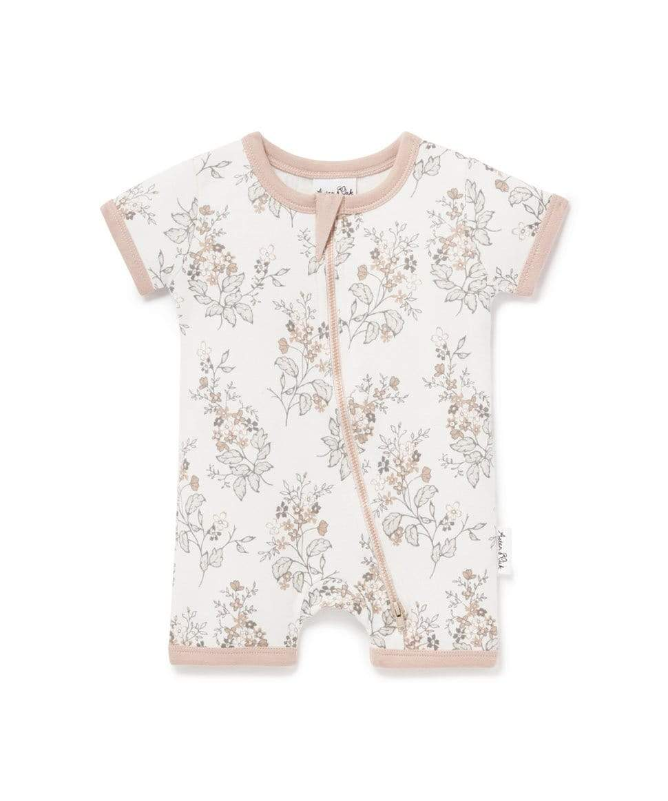 Floral Short Zip Romper Aster & Oak Baby Preggi Central Maternity Shop