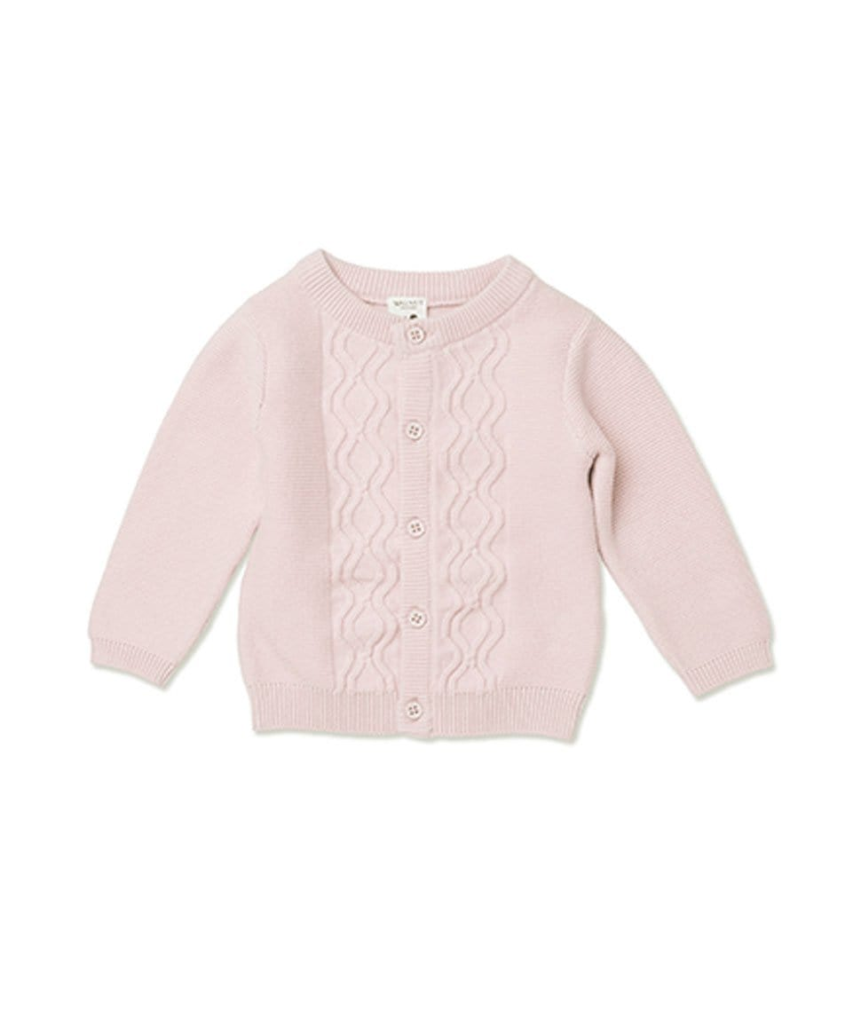 Grace Cable Knit Cardi in Pale Pink