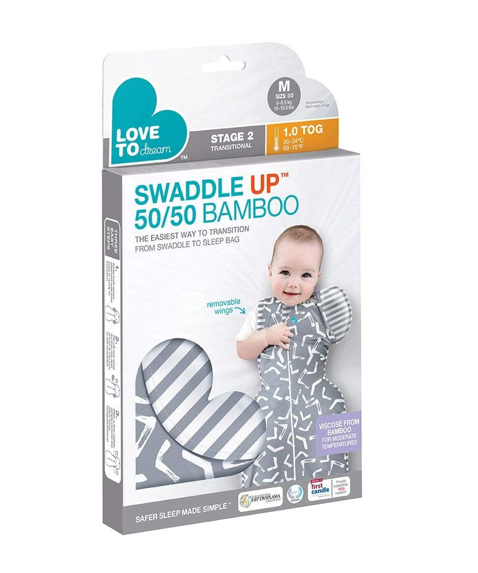 Stage 2 - Swaddle Up™ 50/50 Transition Bag Bamboo - 1.0 TOG