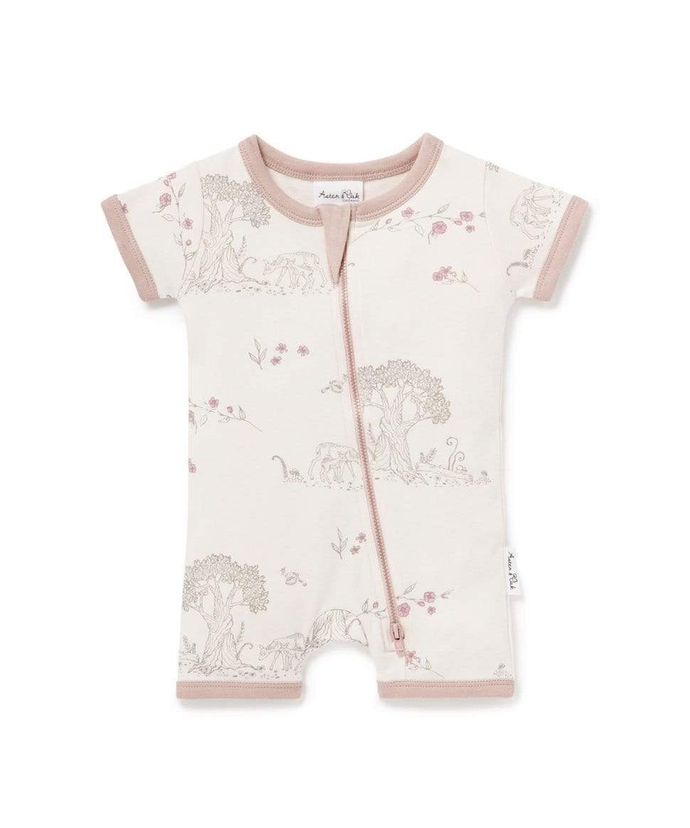 Tree of Life Short Zip Romper Aster & Oak Baby Preggi Central Maternity Shop