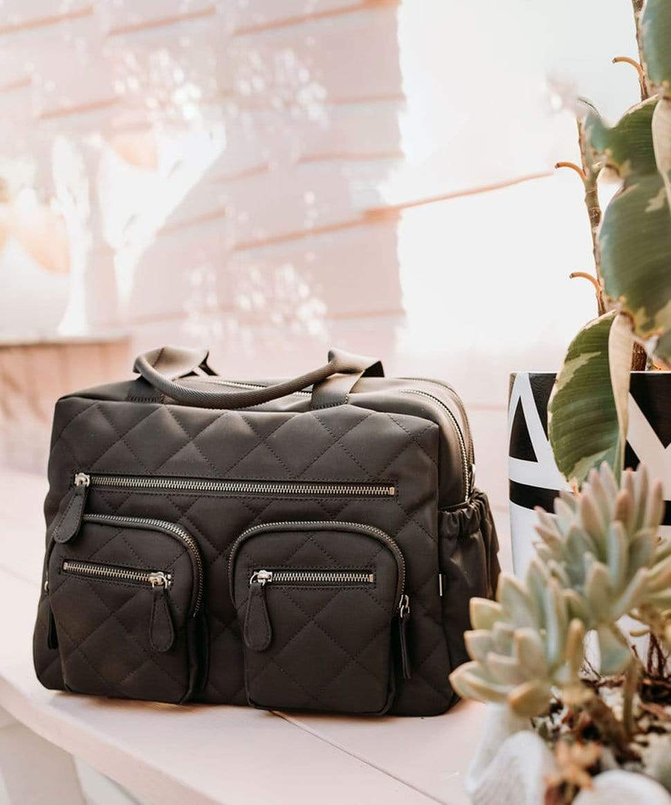 Carry All Black Diamond Quilt Nappy Bag