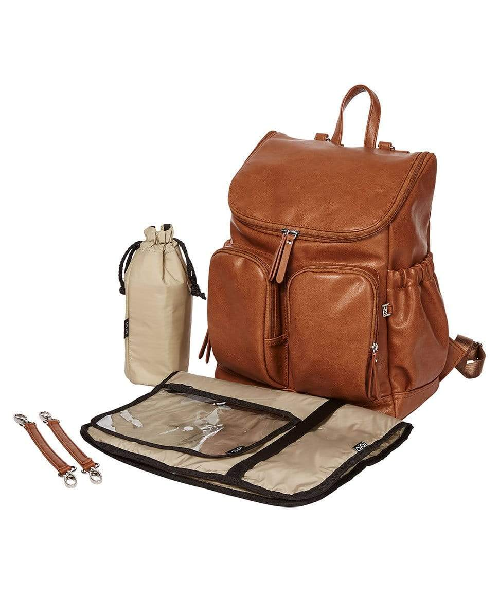 Faux Leather Nappy Backpack