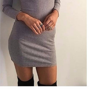2017 Autumn Winter Fashion Women Knitted Dress Elegant Bodycon Dresses Casual Long-Sleeve Black Short Sweater Dress