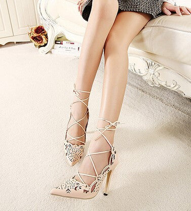 Best Selling European Pop Star Sexy High Heel Point Toe Dress Shoes Lady Cut Out Strap Shoes For Ladies