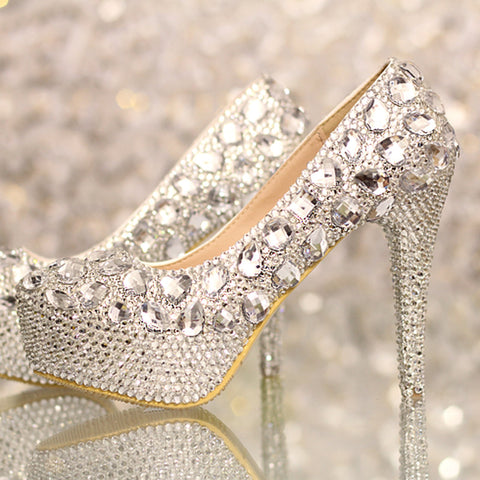 Women shoes pumps handmade female  diamond wedding