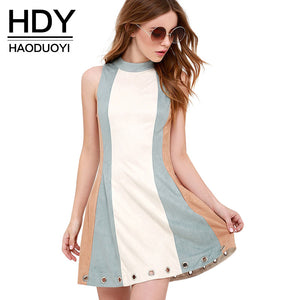 Mini Dress Women Sleeveless Eyelet Detail High Collar Dress