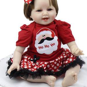 Smiling 22 Inch Baby Reborn Girl Wearing Cute Dress Silicone Handmade Babies Newborn Kids Birthday