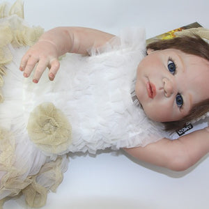 23Inch Reborn Baby Doll Full Silicone Vinyl Realistic Baby Girl Fashion Baby