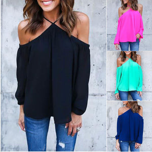 2017 Fashion Women Sexy Chiffon Halter Blouse Casual Long Sleeve Off Shoulder Loose Tops Shirts Plus Size