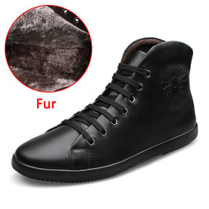 Fashion Men Boots Plus Velvet Genuine Leather Quality Brand Snow Winter