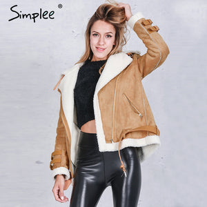 short jacket coat Winter black warm hairly collar jacket Women autumn belt female