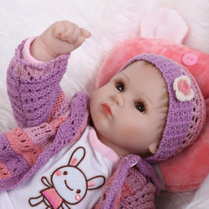 "18"" bebe gift doll reborn Silicone Reborn babies With Cotton Body"