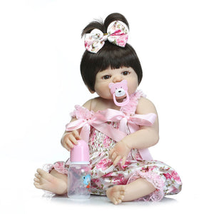 "girl doll reborn 22"" Full silicone vinyl body children play house toys bebe gift"
