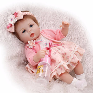 40cm reborn dolls  baby girl doll toys soft cloth body silicone