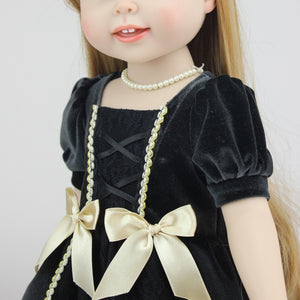 18 inch american long hair blue eyes girl doll wearing black dress baby doll