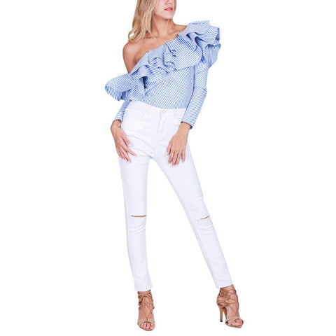 Plus Size Women Sexy One Shoulder Ruffles Blouse Casual Blue Striped Shirt Long Sleeve