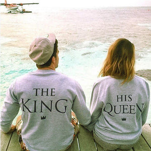 Hot Sale 2017  Women Man King Queen Letter Print Lovers Couple  Plus Size