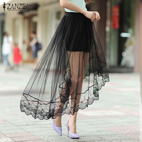 Hot Sale Women Skirt  Sexy Mesh Skirts  Casual Elastic Waist Skirts Plus Size