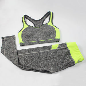 Sports Bra + Sports Pants  Sport Suits Patchwork Wirefree Sports Bra + Sports Pants Yoga Set Running Gym