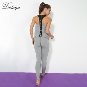 Yoga Sportwear 2 Pieces Set  Tracksuit for Women Grey Sleeveless