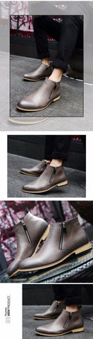 Men Boots Comfortable Black Winter Warm Waterproof Fashion Ankle Boots Casual Men