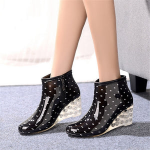 rain boots high heel And ankle water shoes slip-resistant wedges women