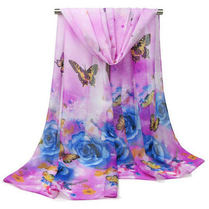 2017 New Style Women Silk Hijab Butterfly Rose Flower Print Quality