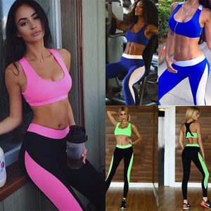 Yoga Sports Bra Top And Elastic Slim Pants Women's Yoga Sets Fitness Sportswear Suits Yoga Shirts Running Gym Yoga Sports Bra Top And Elastic Slim Pants