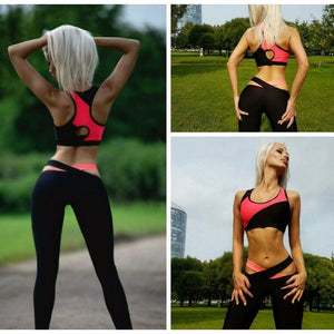 2017 jogging Slim fitness clothing new multicolor stitching yoga set sportswear female sexy yoga suite exercise fitness training jogging Slim fitness clothing