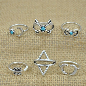 6PCS  Rings Silver  for Women