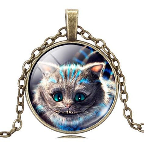 Cheshire Cat – Alice in Wonderland Glass Cabochon Pendant Necklace