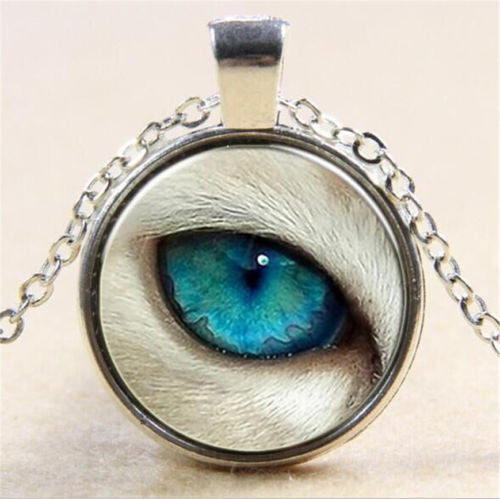 Wolf Eye Glass Cabochon Pendant Necklace