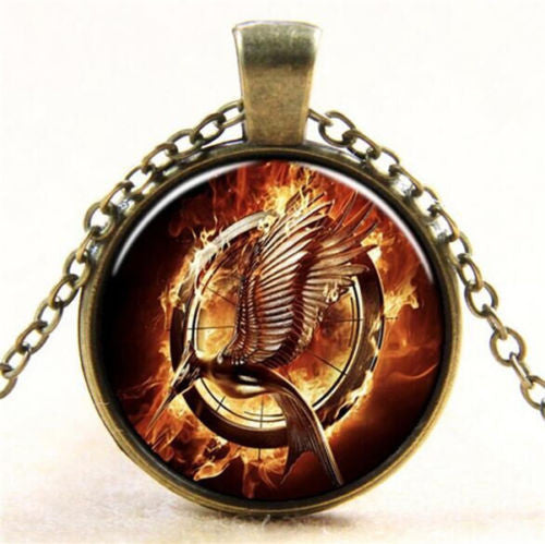 The Hunger Games Mocking Jay Glass Cabochon Pendant Necklace