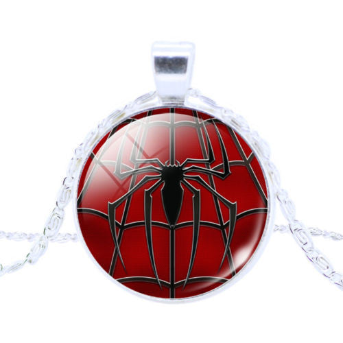 Spider-Man Logo Glass Cabochon Pendant Necklace