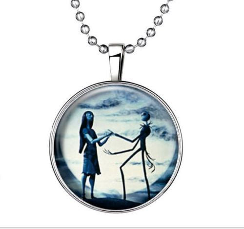 The Nightmare Before Christmas Jack and Sally Glow in the Dark Cabochon Pendant Necklace