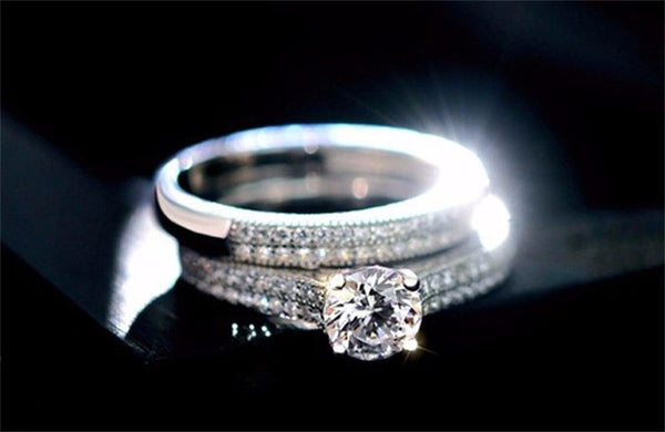 925 Sterling Silver Cubic Zirconia Engagement Ring Set